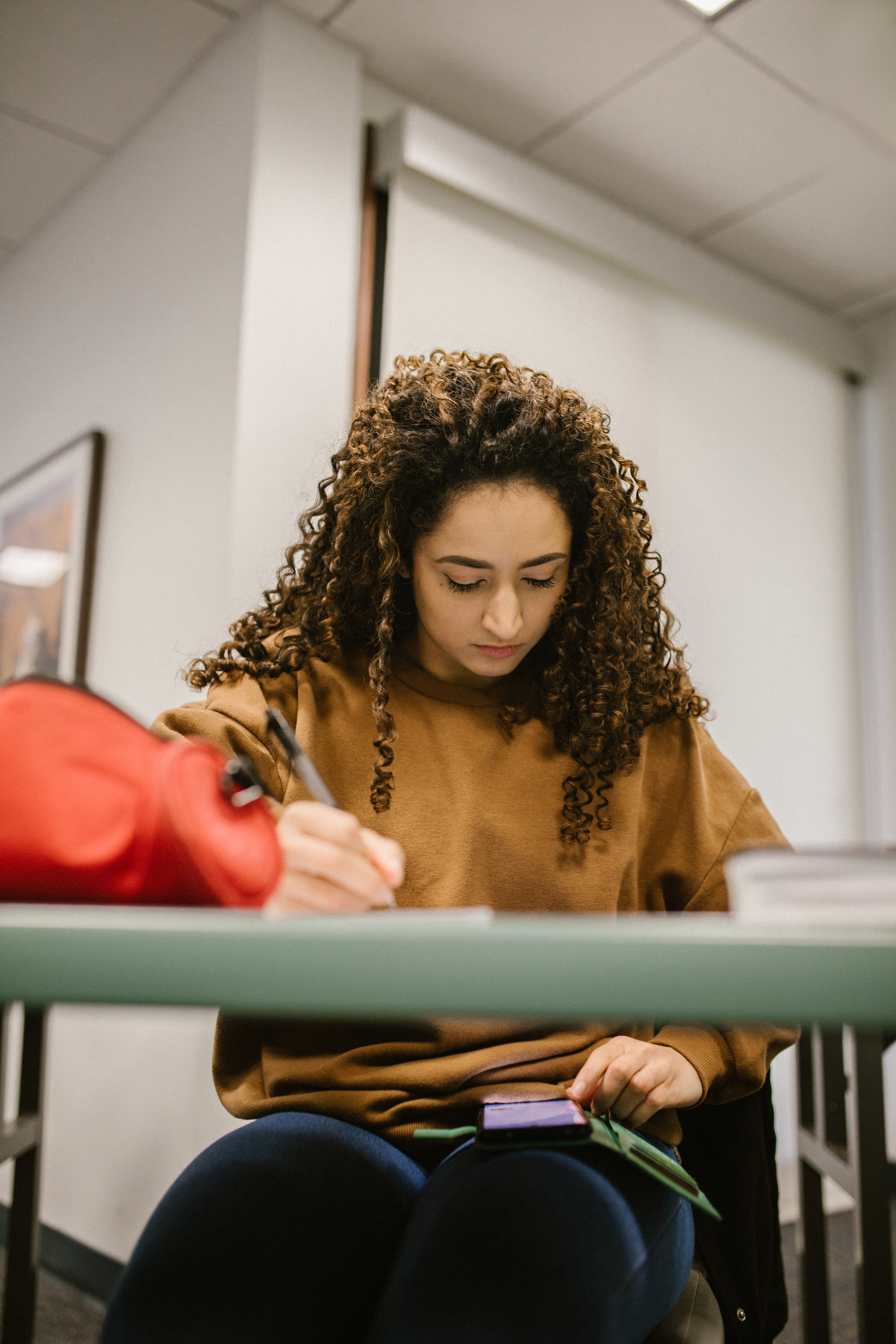 student cheating during an exam