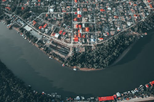 Residential district located on coast of curving river