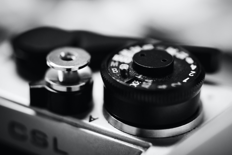 Greyscale Photography of Camera