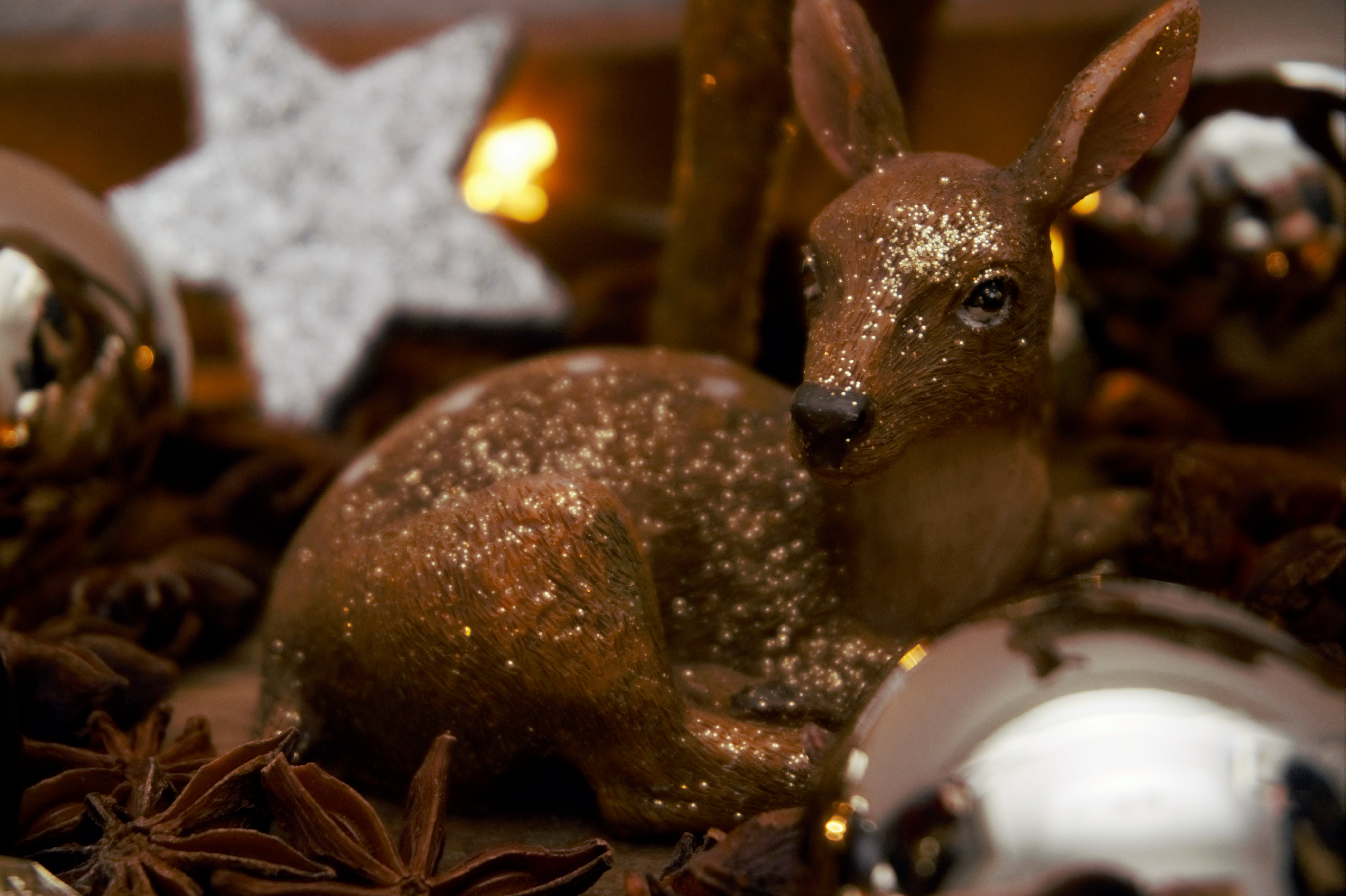 Brown Deer Figurine and White Star Decor