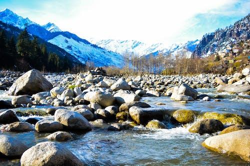 Free stock photo of blue mountains, frozen lake, mountains