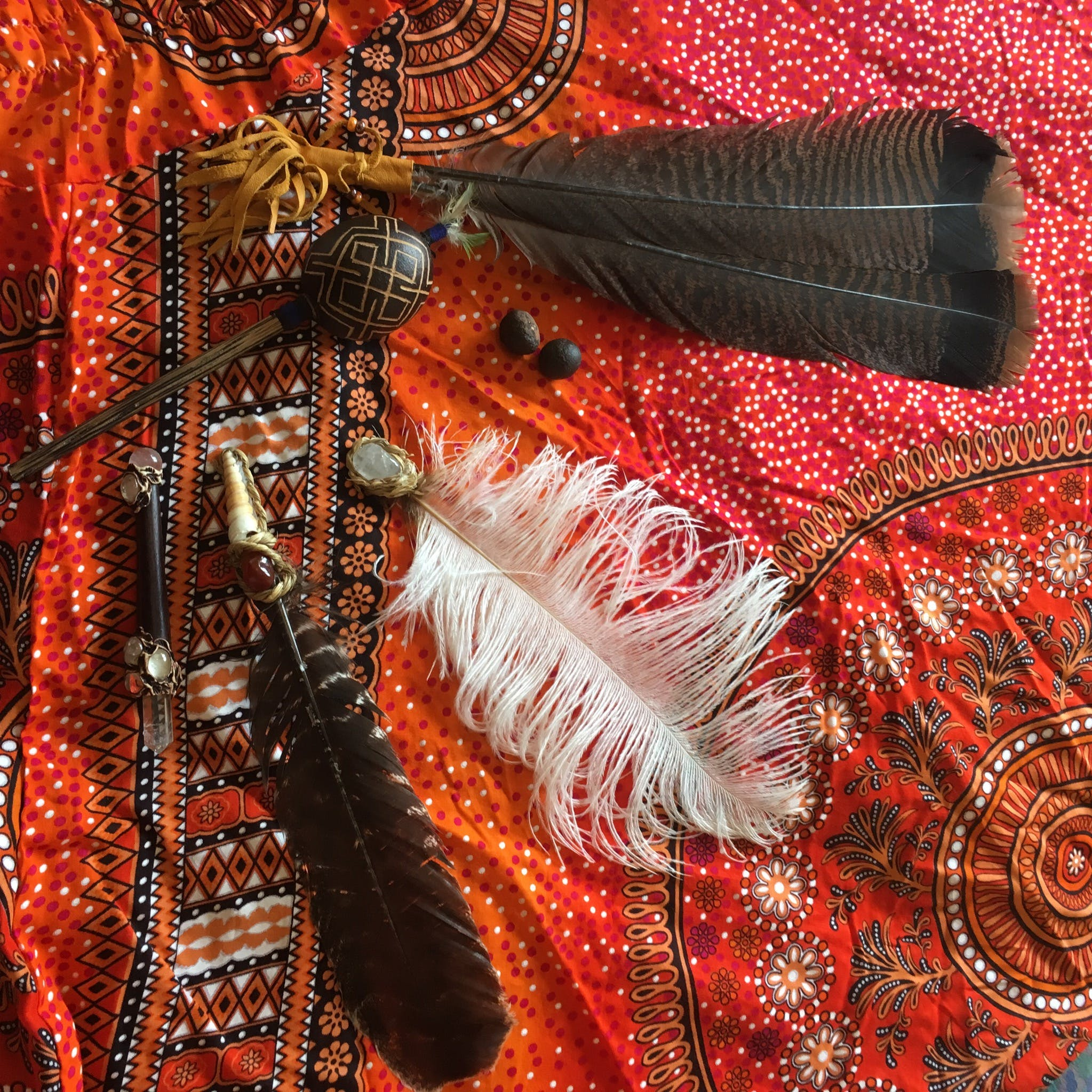 Brown, Black, and White Feather Accessories
