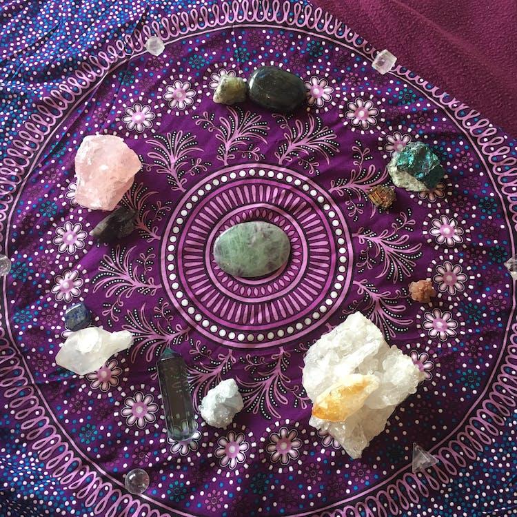 исцеление, красочный, кристаллы