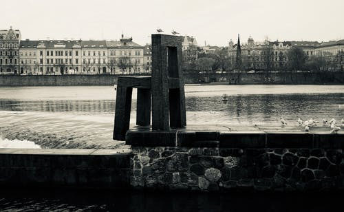 Free stock photo of black and white, prague, street art, Vltava