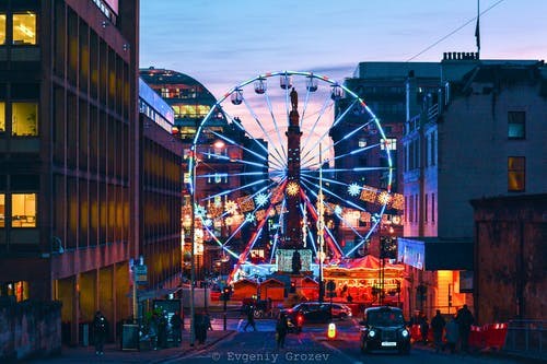 Free stock photo of clear sky, ferris wheel, lights, lightshow