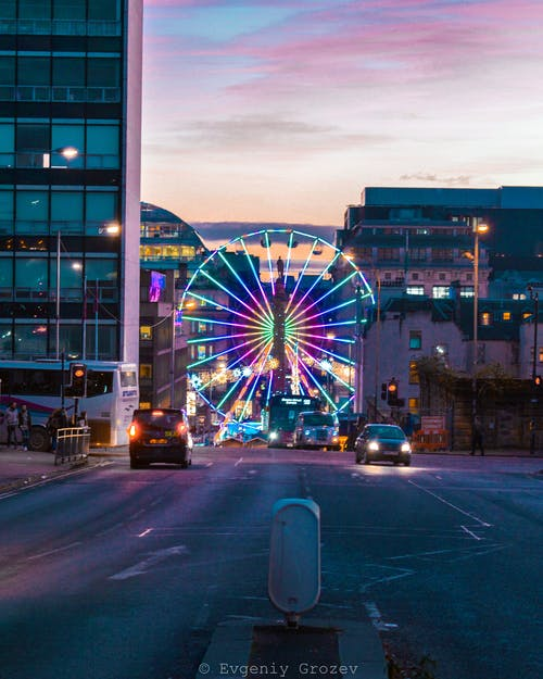 Free stock photo of city, ferris wheel, glasgow, lights