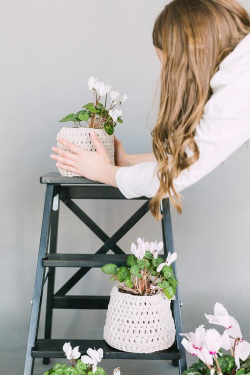 Woman Taking Care Plants