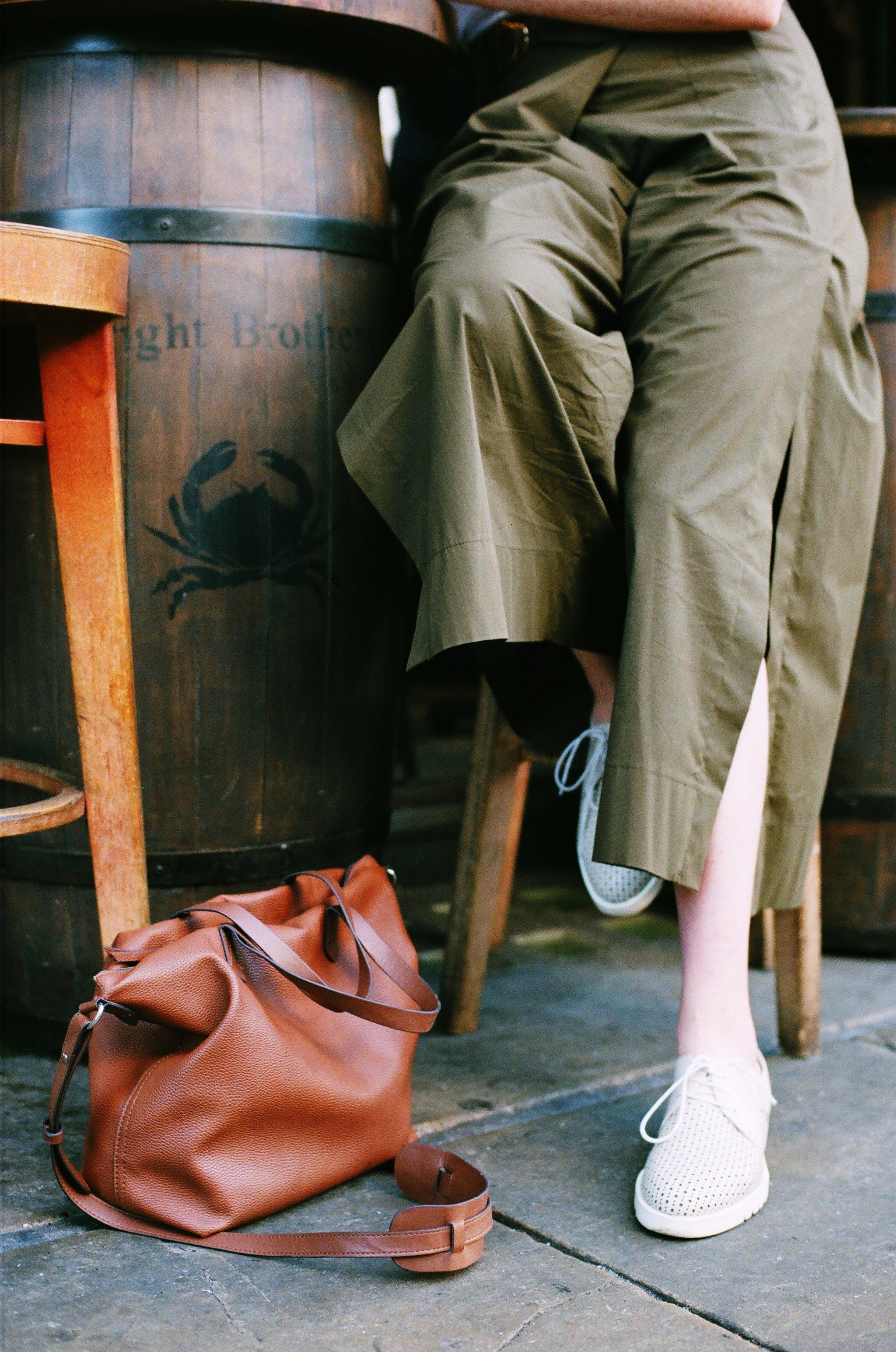 Brown Leather 2-way Handbag