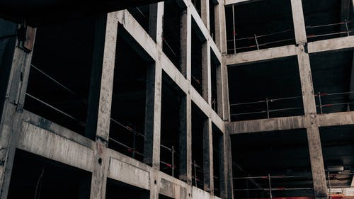 Urban multistory building at construction site