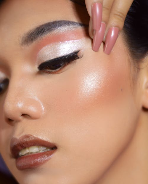 A Woman with a Silver Eye Makeup