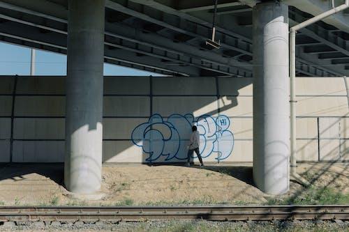 Black Metal Frame on White Concrete Post