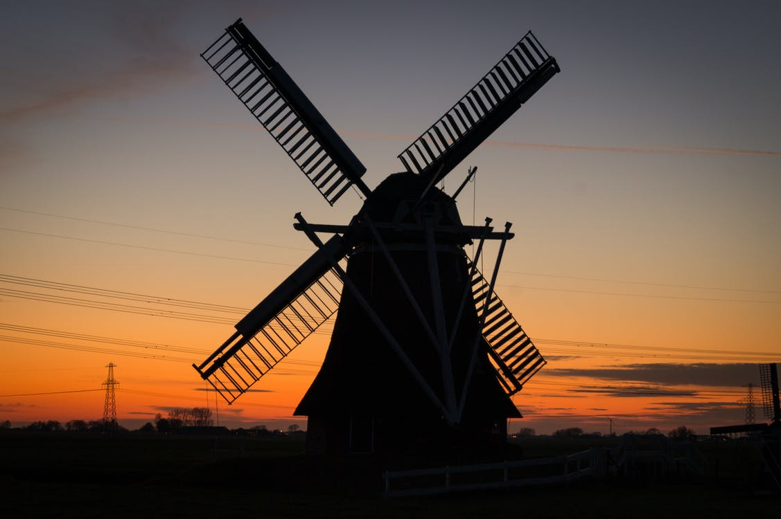 Silhouette of Windmill during Dusk