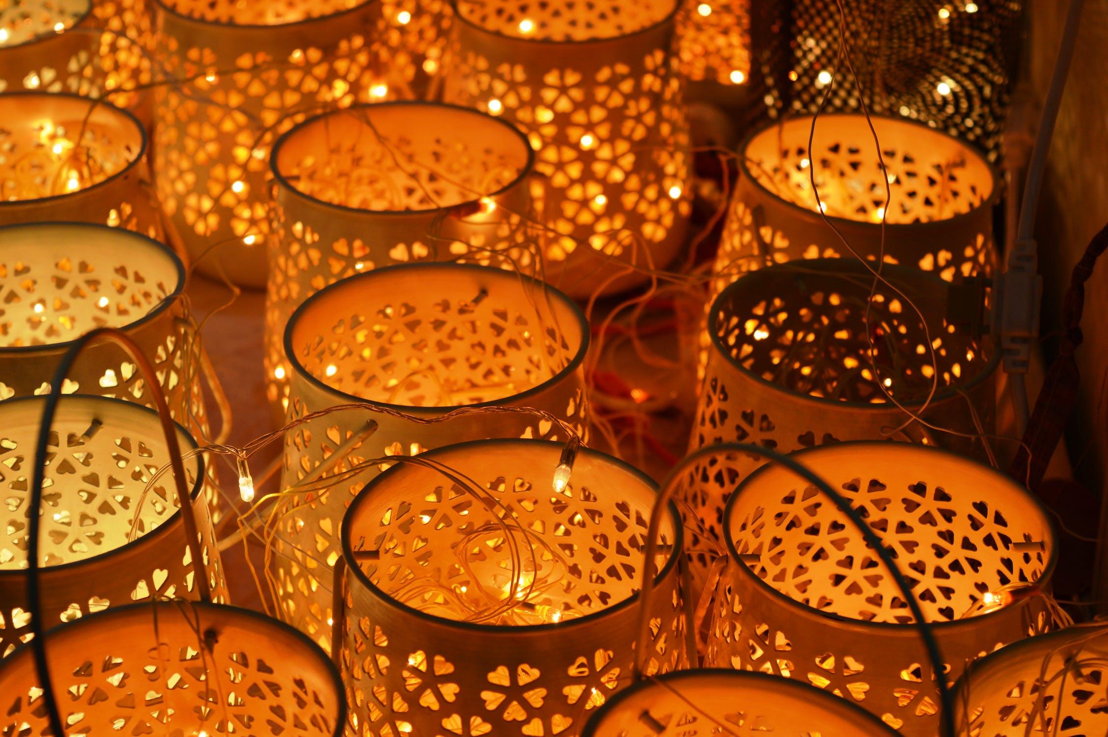 brown wooden lanterns