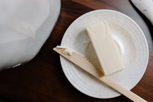 White Cheese on White Ceramic Plate