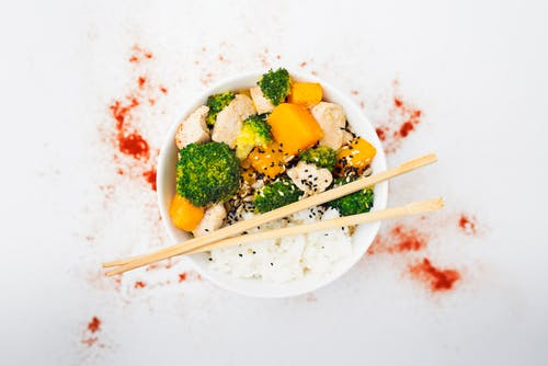 Rice With Green Vegetables and Brown Chopsticks on White Bowl