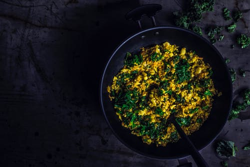 Yellow and Green Vegetables in Black Pan
