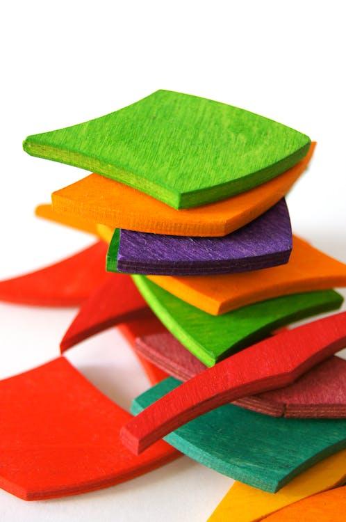 barevný, hračky, stoh