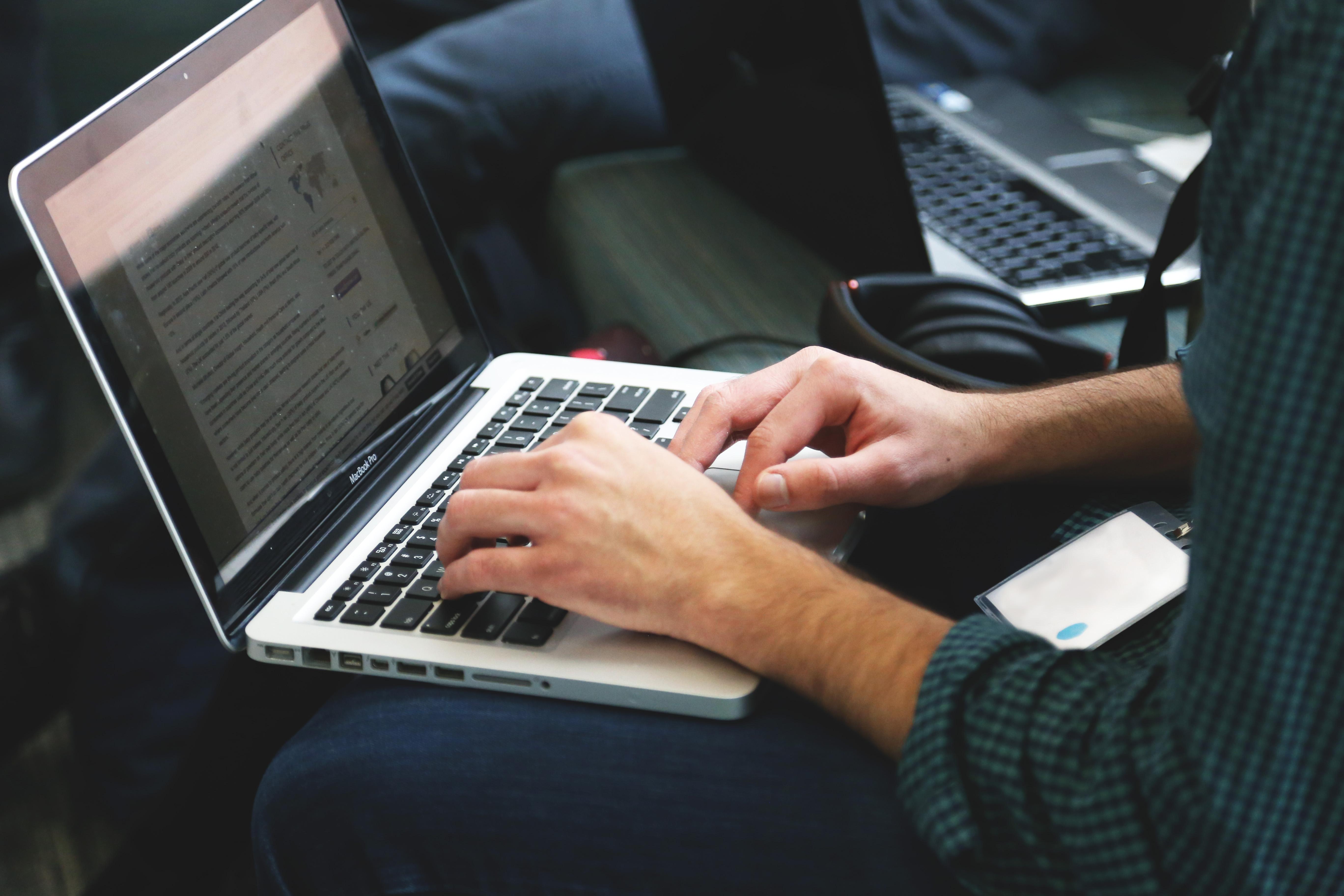 Free stock photo of apple, laptop, typing, writing