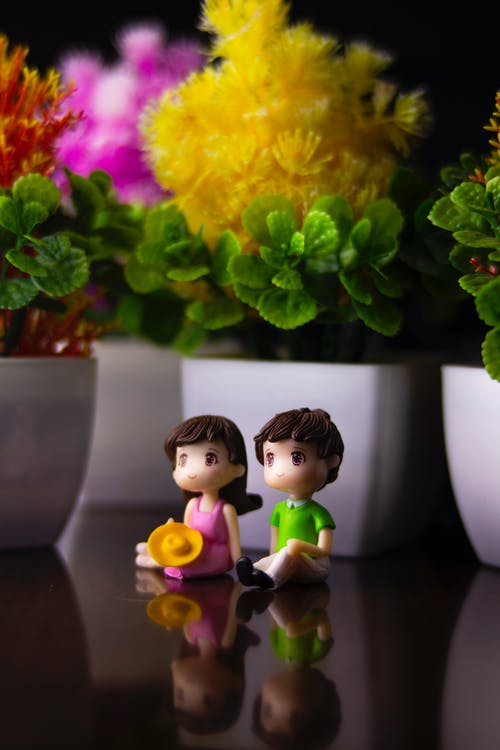 Cute colorful couple of figurines placed on black table near flowerpots with colorful flowers and green leaves in room with plants