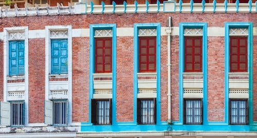Free stock photo of building, colourful, wooden window
