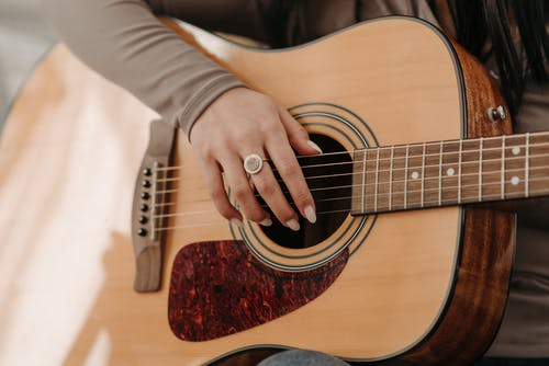 Hand of Person Holding Guitar
