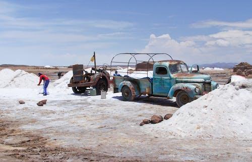 Blue Truck Quarrying Salt in Bolivia