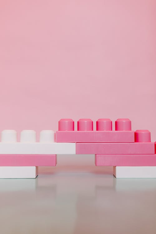 Pink and White Wooden Blocks