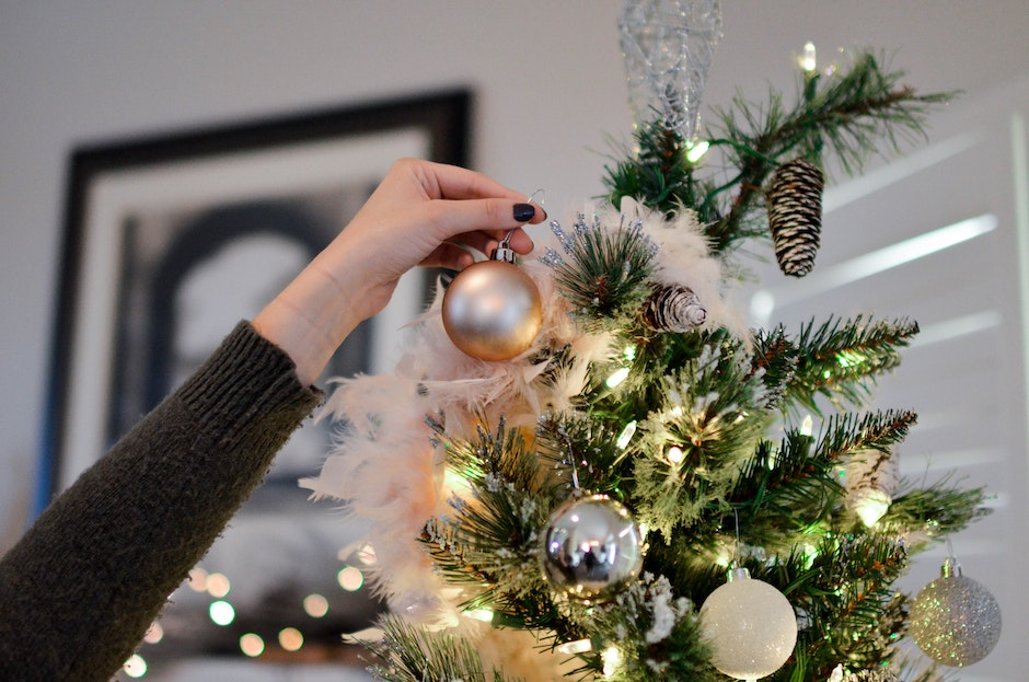 Person Holding Beige Bauble Near Christmas Tree
