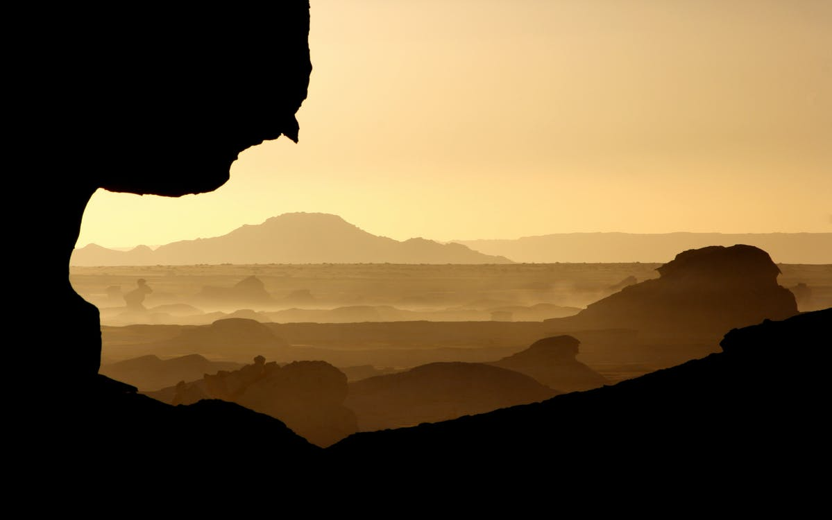 경치, 사막, 산