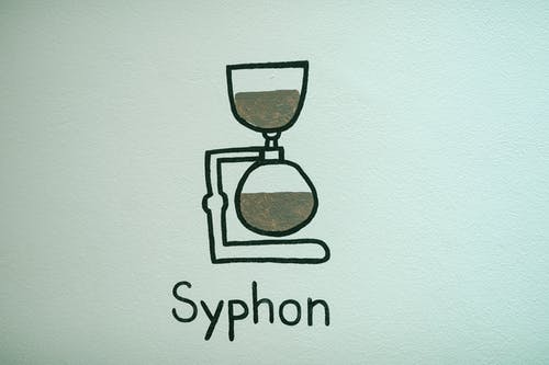 White wall with painting on alternative syphon coffeemaker and inscription in modern cafe