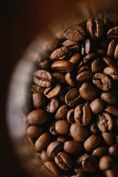 Roasted coffee beans against blurred background