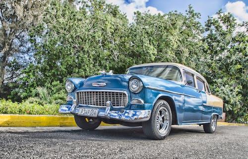 Vintage Blue Sedan