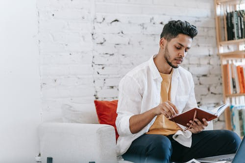 Attentive ethnic man reading notes in diary on armchair