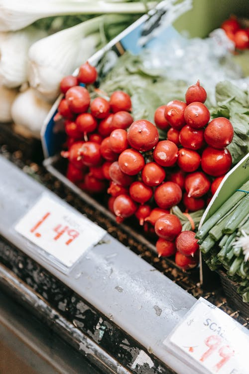 Red ripe radish in supermarket