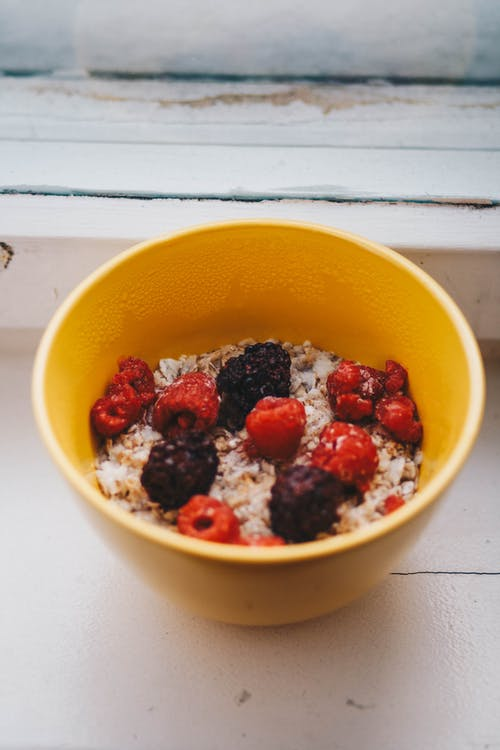 Delicious bowl with fresh berries and cereals