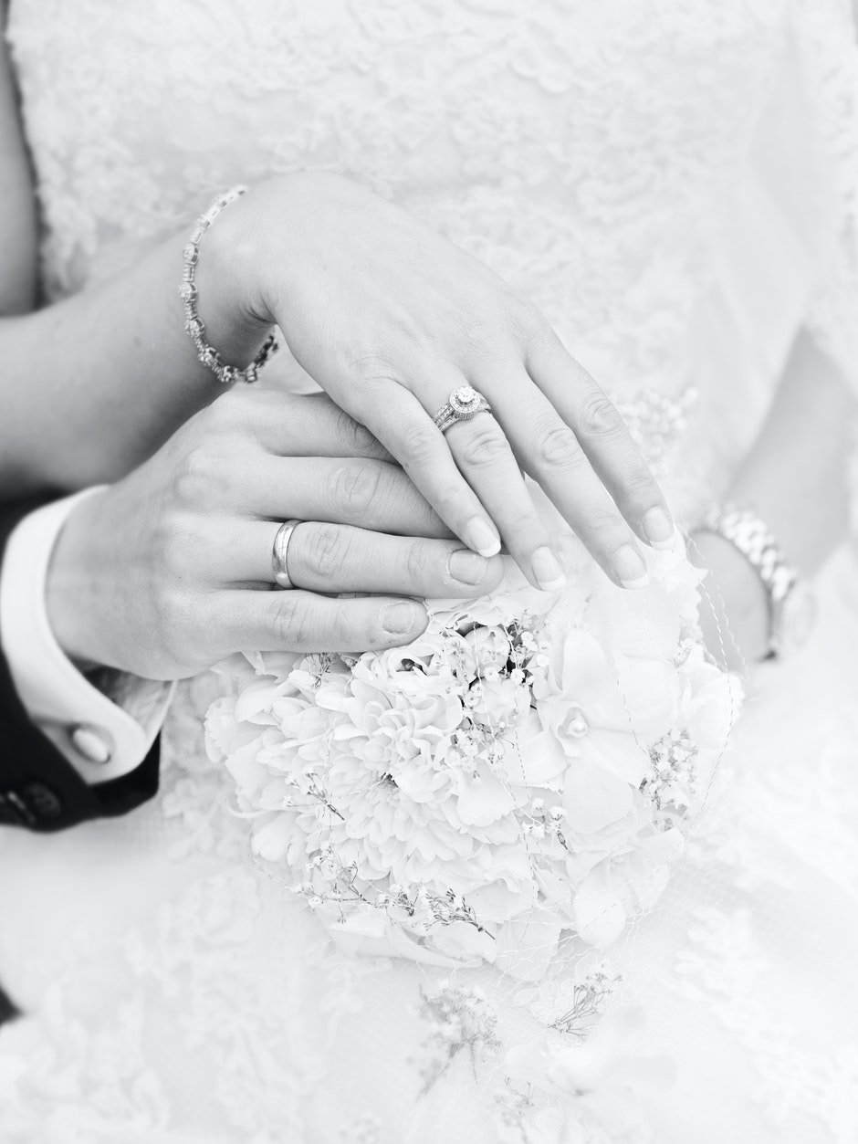 black-and-white, bouquet, love