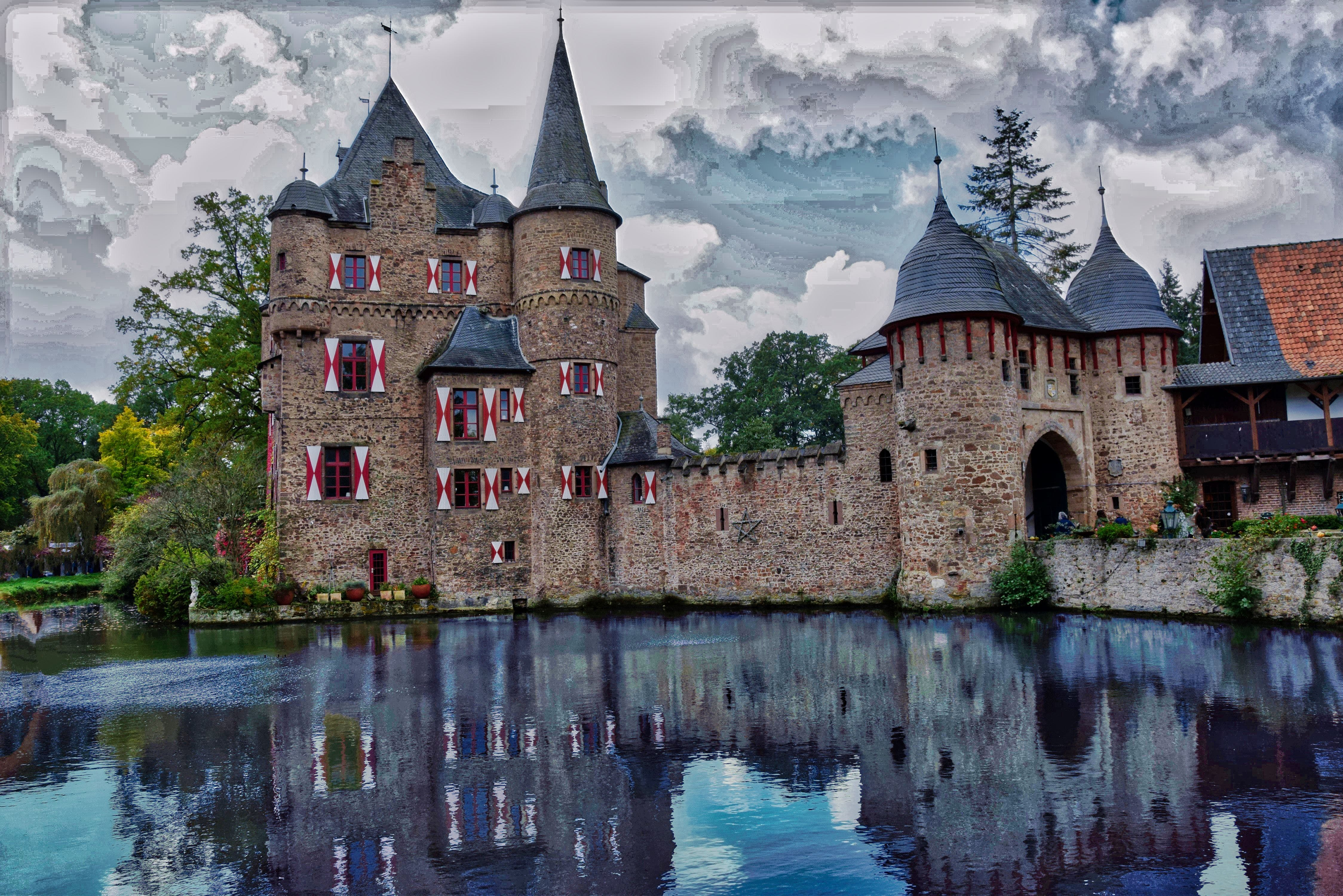 Concrete Castle Beside Body Of Water