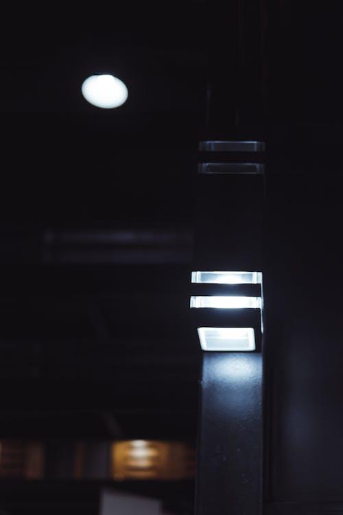 Free stock photo of black, black wall, blue light