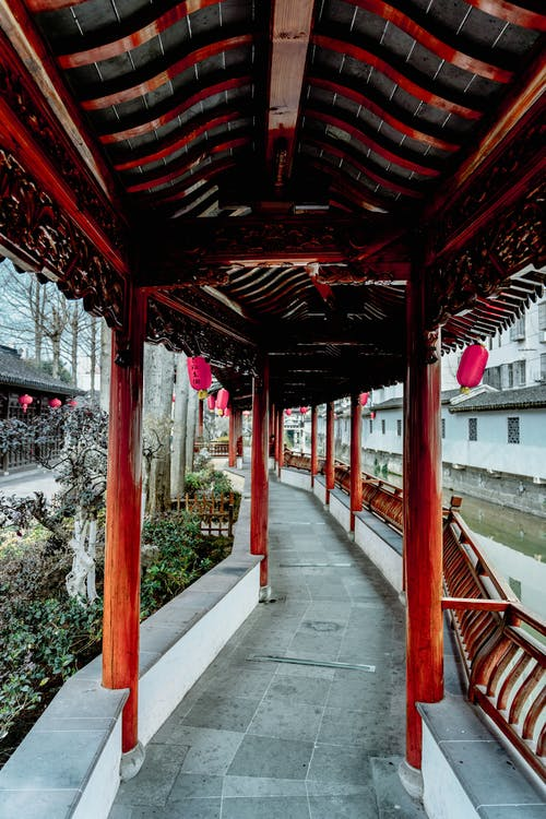 Covered passage under pagoda roof of traditional oriental building