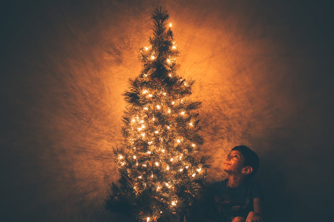 Boy Beside Christmas Tree Illustration