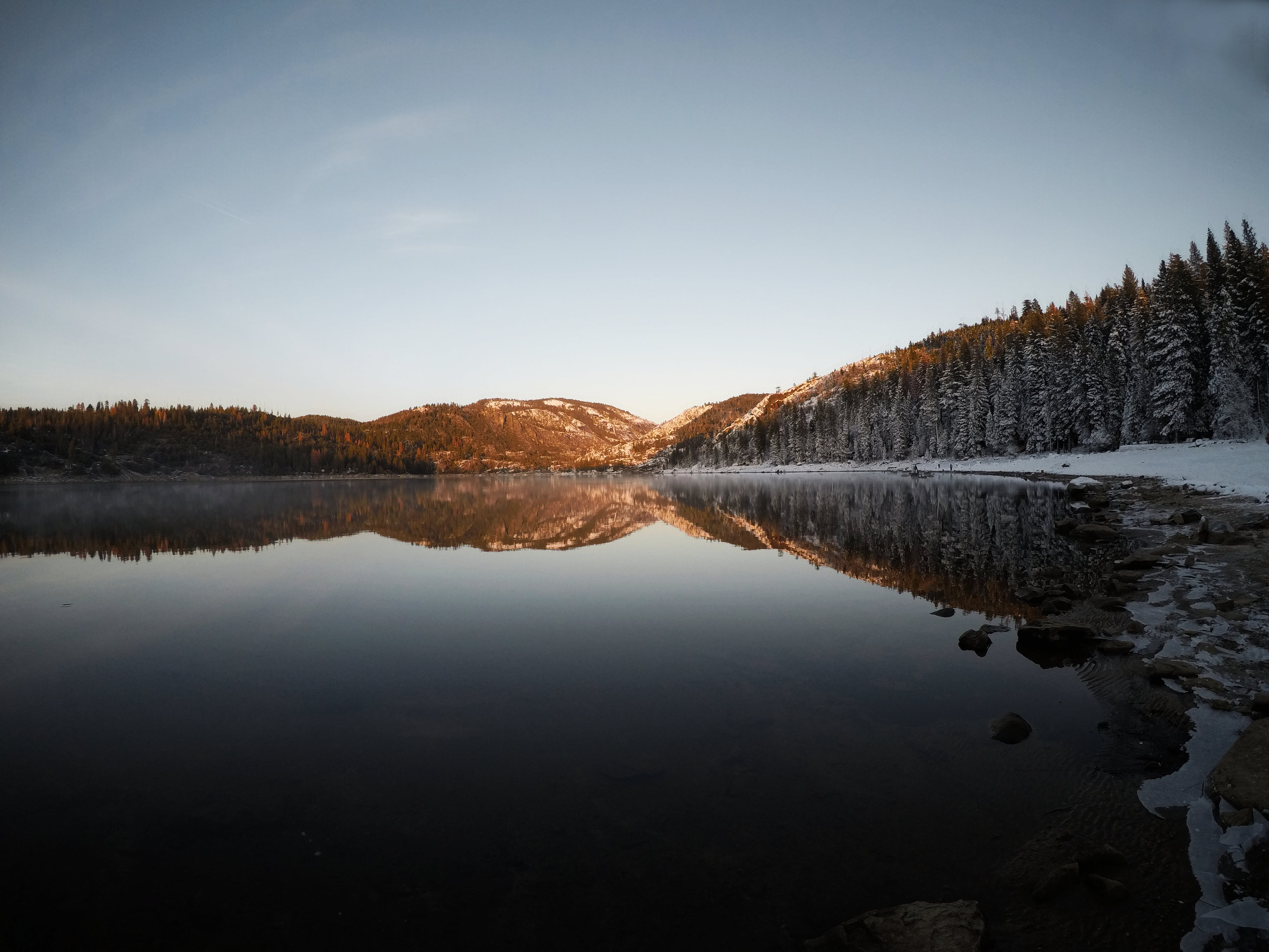 Reflection of Mountain and Trees on Body of Water