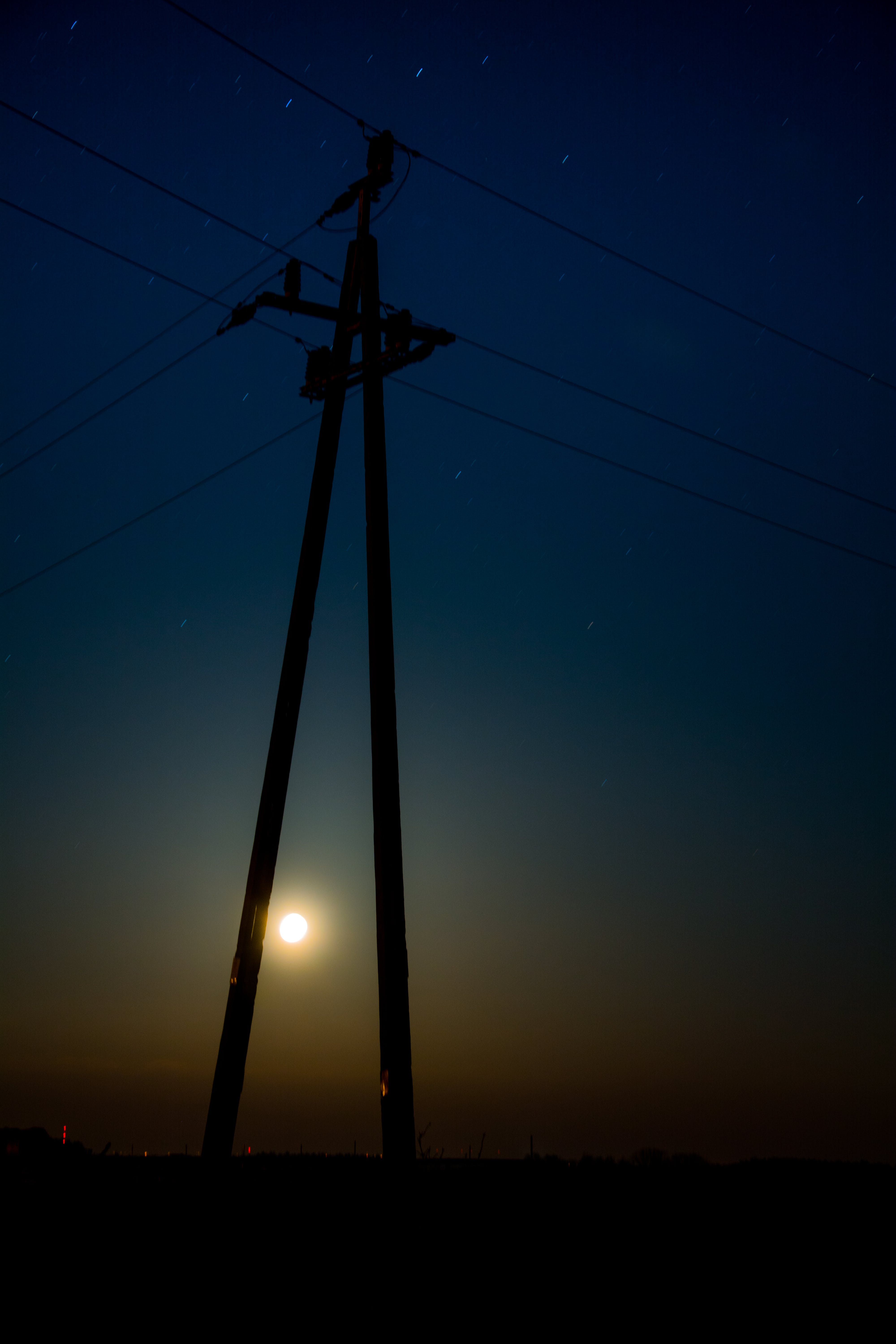 Free stock photo of bluesky, electricity pole, moon, night