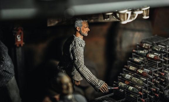 Selective Focus Photography of Male Doll Holding Bottle Near Bottle Rack