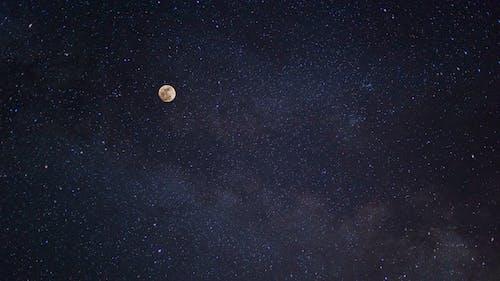 คลังภาพถ่ายฟรี ของ skyscape, กลางคืน, กาแล็กซี, จันทรา