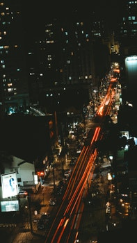 Bird's Eye View of City at Night Time