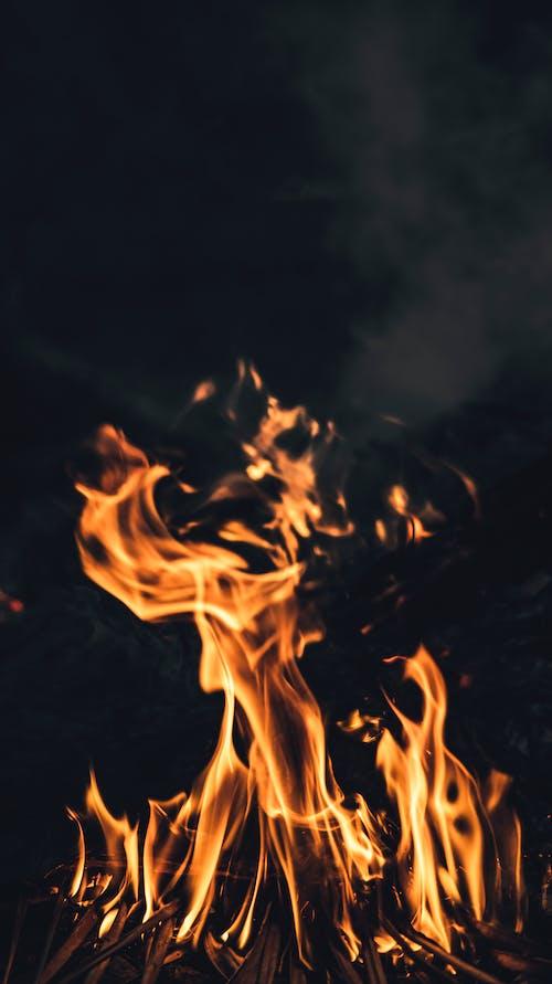 Burning flame against dark sky