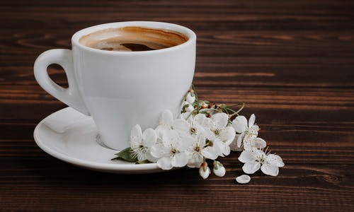 Ceramic cup of aromatic coffee with froth and blossoming flowers with gentle petals on brown background