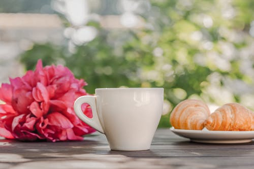 Coffee cup with croissants served on table near peonies in green garden in sunlight