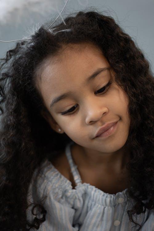 Cute black girl with black hair