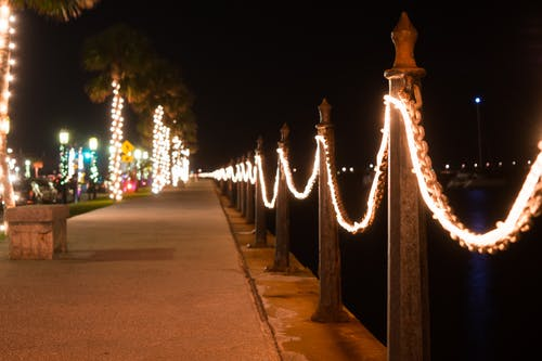 Free stock photo of christmas lights, long exposure, night, night sky